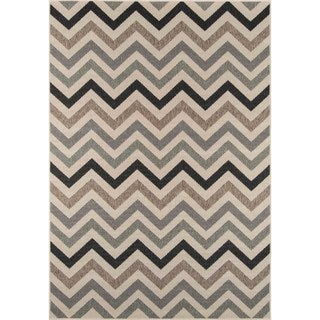 Indoor/ Outdoor Sage Chevron Rug (7'10 x 10'10)