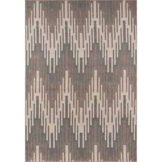 Indoor/ Outdoor Ivory Ikat Rug (7'10 x 10'10)