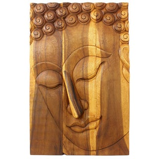 Hand-carved Oak Oiled Pacceka Buddha Wall Panel (Thailand)