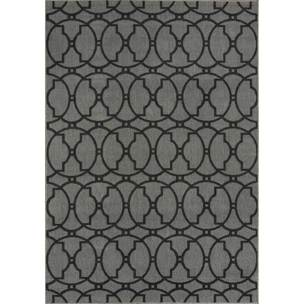 "Momeni Baja Moroccan Tile Charcoal Indoor/Outdoor Area Rug - 7'10"" x 10'10"""