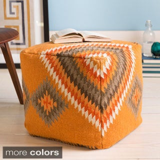 Hand-crafted 'Delia' Southwestern 18-inch Square Pouf