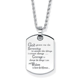 PalmBeach Serenity Prayer Dog-Tag Necklace in Stainless Steel Tailored