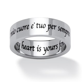 PalmBeach Il Mio Cuore E Tuo Per Sempre (Italian) My Heart is Yours Forever Ring in Stainless Steel Tailored