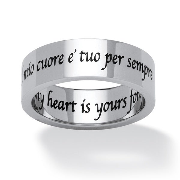 Il Mio Cuore E Tuo Per Sempre (Italian) My Heart is Yours Forever Ring in Stainless Steel