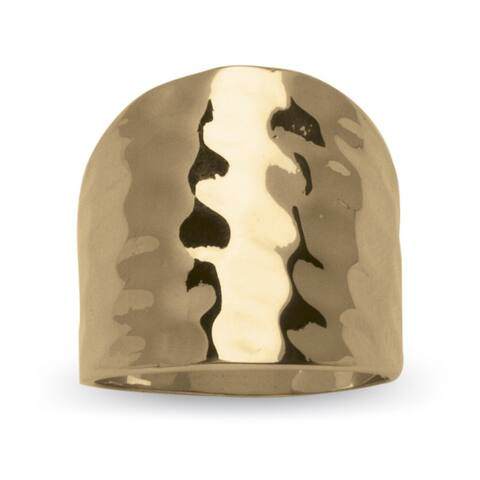 Yellow Gold-Plated Hammered Style Cigar Band Ring (5mm)
