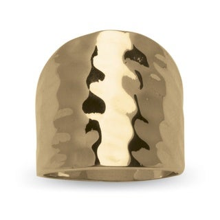 14k Yellow Gold-Plated Hammered-Style Cigar Band Ring Tailored (More options available)