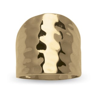 14k Yellow Gold-Plated Hammered-Style Cigar Band Ring Tailored (4 options available)