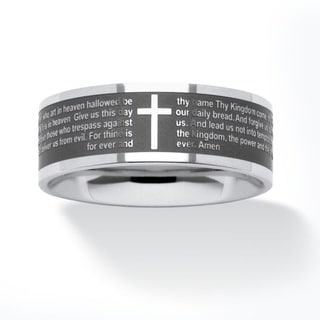 PalmBeach Lord's Prayer Ring in Stainless Steel Tailored