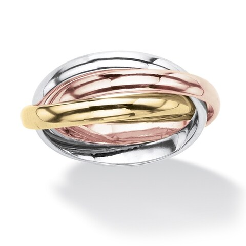 Yellow Gold-Plated , Rose Gold-Plated and Silvertone Tri Tone Rolling Ring (3mm)