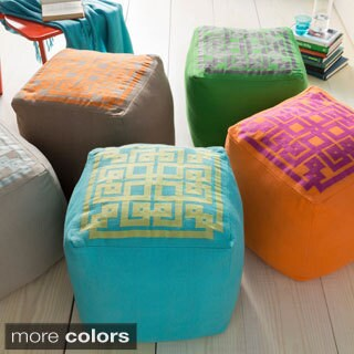 Hand-crafted 'Jacklyn' Linen 18-inch Square Pouf