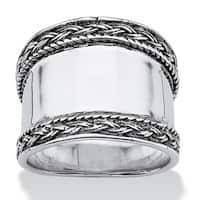 Cigar Band Style Ring with Braided Accent in Sterling Silver Tailored