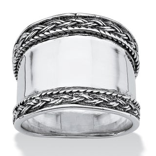Cigar Band Style Ring with Braided Accent in Sterling Silver Tailored (3 options available)