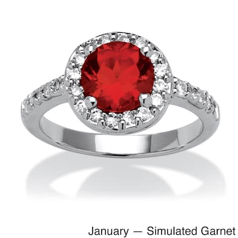 Round Simulated Birthstone and Cubic Zirconia Halo Ring in Sterling Silver Color Fun