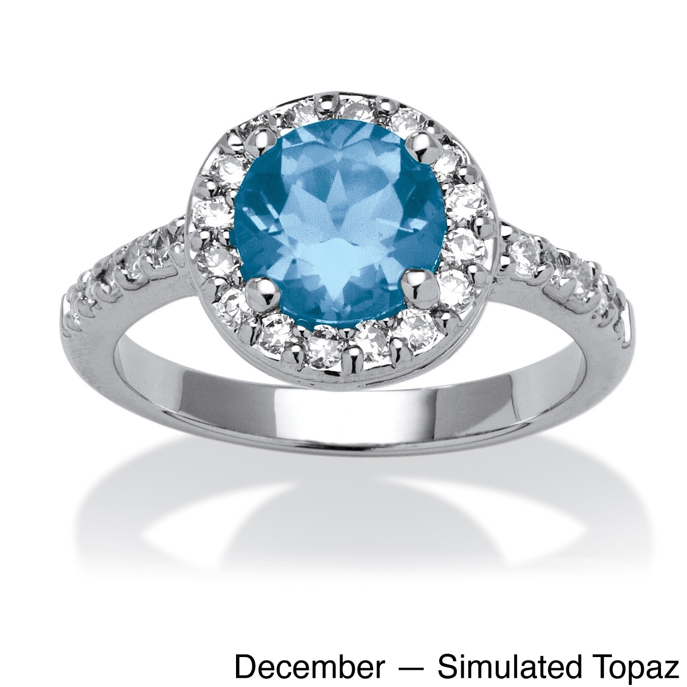 Silvertone Birthstone and Crystal Ring-December-Simulated Blue Topaz