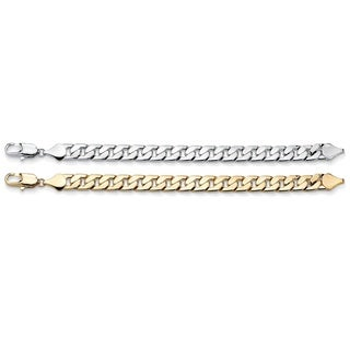 "PalmBeach Men's 12 mm Curb-Link Bracelet BOGO Set 10"" Lengths - Buy Yellow Gold Tone, Get Silvertone FREE"