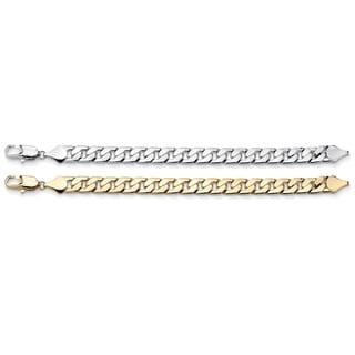 "Men's 12 mm Curb-Link Bracelet BOGO Set 10"" Lengths - Buy Yellow Gold Tone, Get Silvertone"