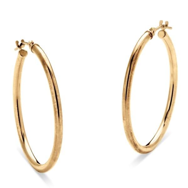 10k Yellow Gold Hoop Earrings 30 mm Tailored