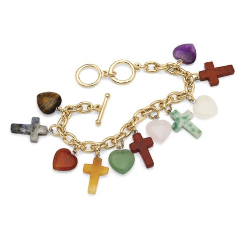 """Genuine Agate Gold Tone Cross and Heart Charm Bracelet (10.5mm), 7.5"""" plus 1/2"""" extension"""