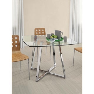 Strick & Bolton Ivan Chromed Steel and Glass Dining Table