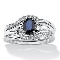 3 Piece 1.05 TCW Oval Sapphire and Diamond Accent Bridal Ring Set in Platinum over Sterlin