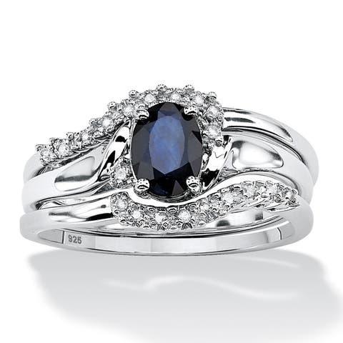 Platinum over Silver Genuine Sapphire and Diamond Accent Bridal Set