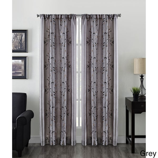 Willow Faux Silk Embroidered Rod Pocket Curtain Panel