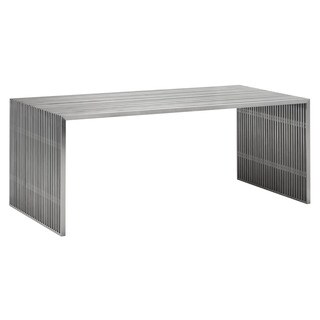 Novel Modern Stainless Steel Ribbed Dining/Office Table