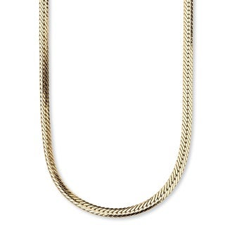 "PalmBeach Herringbone Chain in Yellow Gold Tone 20"" Tailored"