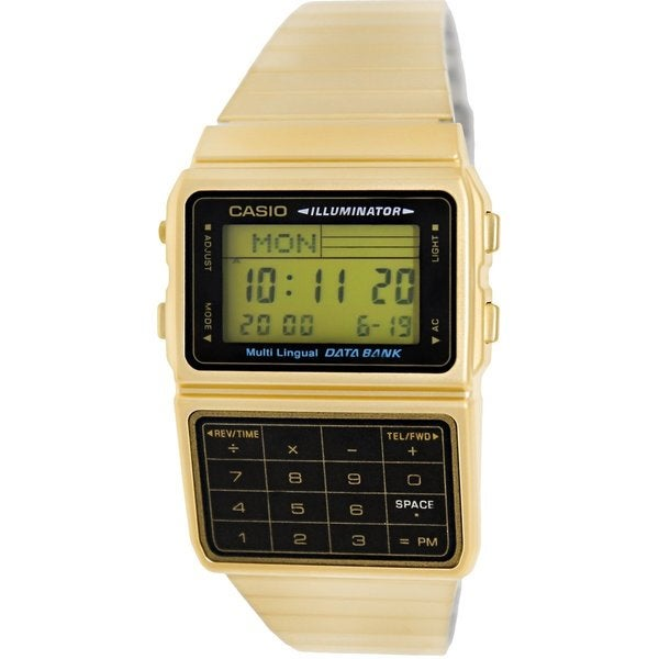 909c64ed9b4 Shop Casio Men s Data Bank Goldtone Stainless Steel Quartz Digital Dial  Calculator Watch - Free Shipping Today - Overstock - 9194843