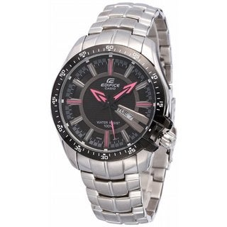 Casio Men's Edifice EF130D-1A4V Silvertone Stainless Steel Quartz Watch with Black Dial
