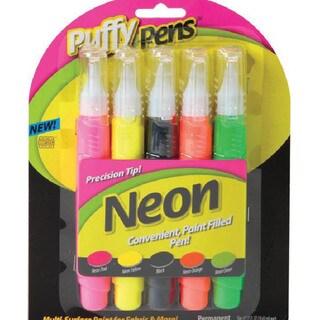 Puffy Paint Pen Set 5/Pkg-Neon