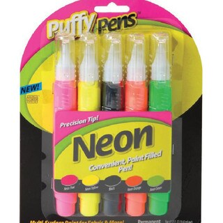 Puffy Paint Pen Set 5/Pkg-Neon