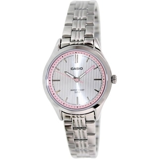 Casio Women's LTPE104D-7AV Silvertone Stainless Steel Quartz Watch with Silvertone Dial