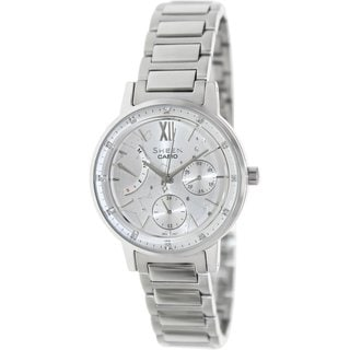 Casio Women's Sheen SHE3028D-7A Silvertone Stainless Steel Quartz Watch with Silvertone Dial