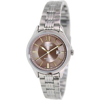Casio Women's LTPE103D-5AV Silvertone Stainless Steel Quartz Watch with Green Dial