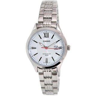 Casio Women's LTPE103D-7AV Silvertone Stainless Steel Quartz Watch with White Dial