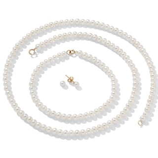 "Cultured Freshwater Pearl Necklace, Bracelet and Earrings 14k Gold 18"" Naturalist"