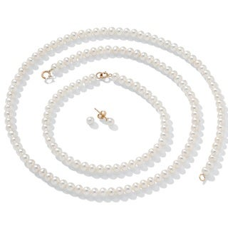 "PalmBeach Cultured Freshwater Pearl Necklace, Bracelet and Earrings 14k Gold 18"" Naturalist"
