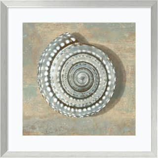 Framed Art Print 'Aqua Seashell' by Caroline Kelly 27 x 27-inch|https://ak1.ostkcdn.com/images/products/9195155/P16367613.jpg?impolicy=medium