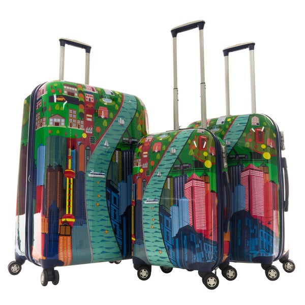 GABBIANO City View Polycarbonate 3-piece Expandable Hardside Luggage Set
