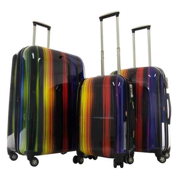 GABBIANO Rainbow 3-piece Expandable Hardside 8-wheel Spinner Luggage Set