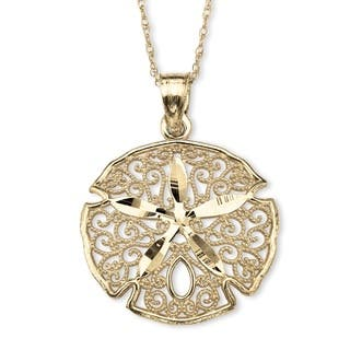 "10k Gold Sand Dollar Filigree Charm Pendant 18"" Tailored