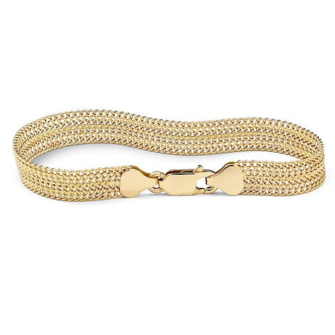 "18k Gold over Sterling Silver Mesh Bracelet 7 1/4"" Tailored"