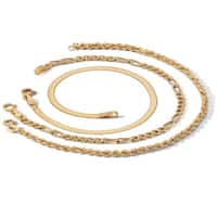 3 Piece Ankle Bracelet Set in 18k Gold over Sterling Silver Tailored