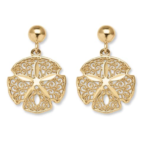 10k Gold Sand Dollar Drop Earrings Tailored