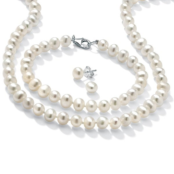 Sterling Silver Cultured Freshwater Pearl Necklace Bracelet And Earrings Set 6 Mm