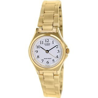 Casio Women's Core LTP1130N-7B Goldtone Stainless Steel Quartz Watch with White Dial