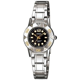 Casio Women's Core LTD2001D-1AV Silvertone Stainless Steel Quartz Watch with Black Dial