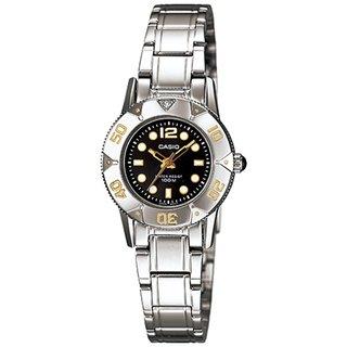 Casio Women's Core LTD2001D-1AV Silvertone Stainless Steel Quartz Watch with Black Dial