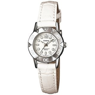 Casio Women's Core LTD2001L-7A1V White Leather Quartz Watch with White Dial